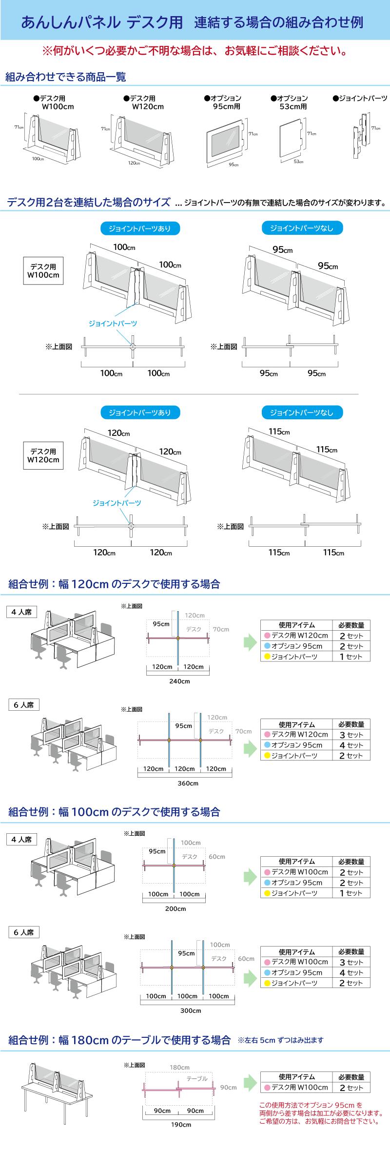 あんしんパネルデスク用連結する場合の組み合わせ例