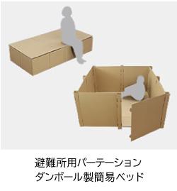 避難所用パーテーション・ダンボール製簡易ベッド
